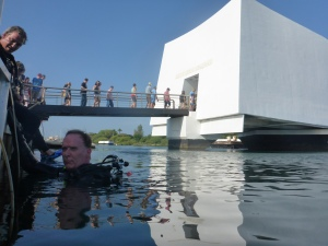 AIR's Pete Kelsey diving the Arizona Memorial