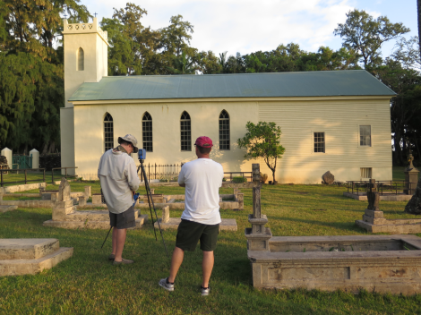 Pete Kelsey (L) & Scott Pawlowski (R) laser scan St. Philomena Church at Kalaupapa, HI