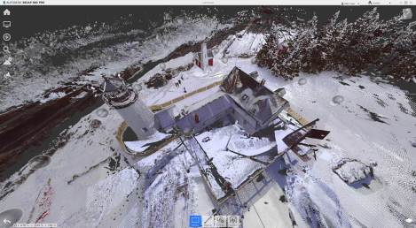 LiDAR point cloud of the lighthouse in Autodesk ReCap