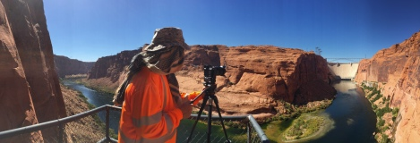 Pete gathers photogrammetry images downstream of Glen Canyon Dam